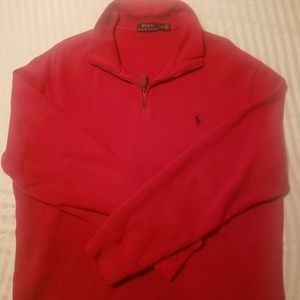 Red Polo 1/4 Zip Sweater